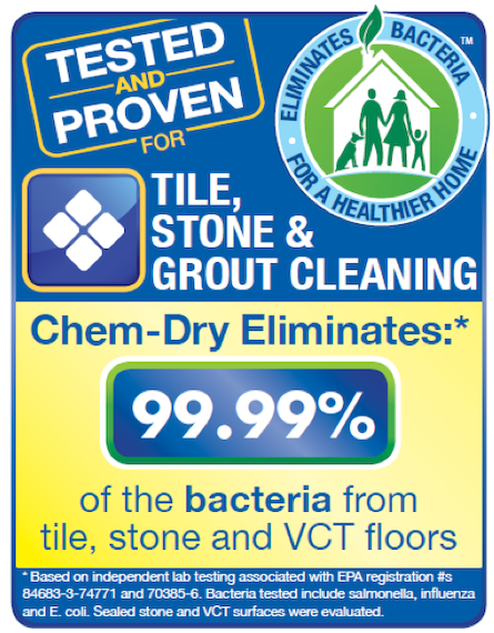 Tile cleaning by Chem-Dry removes 99.99% of bacteria from tile and grout for a healthier home