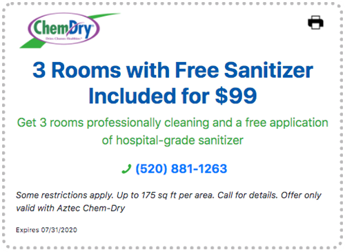 3 rooms with free sanitizer included for $99 carpet cleaning special